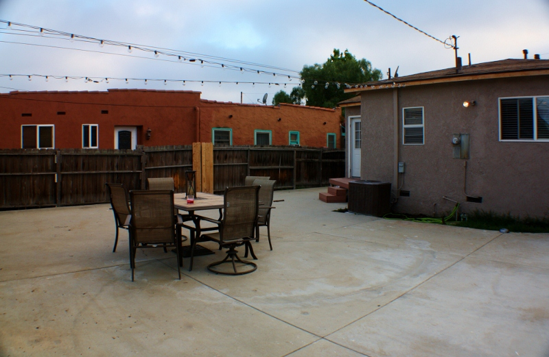 Large patio and backyard