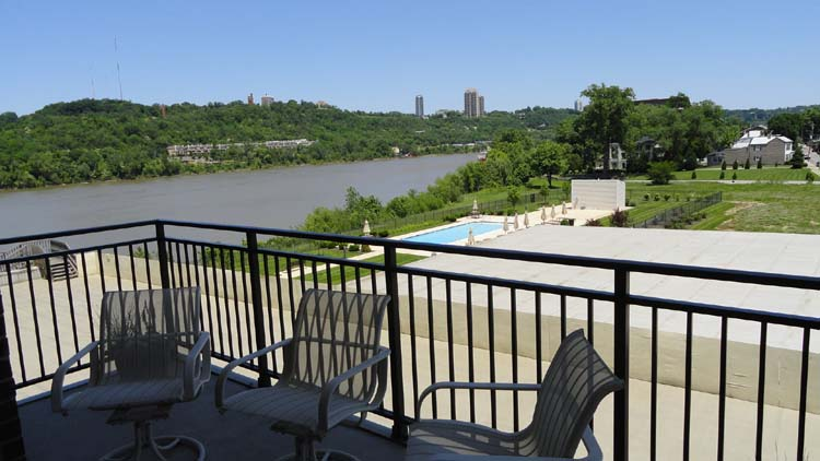View of the pool and the Ohio River