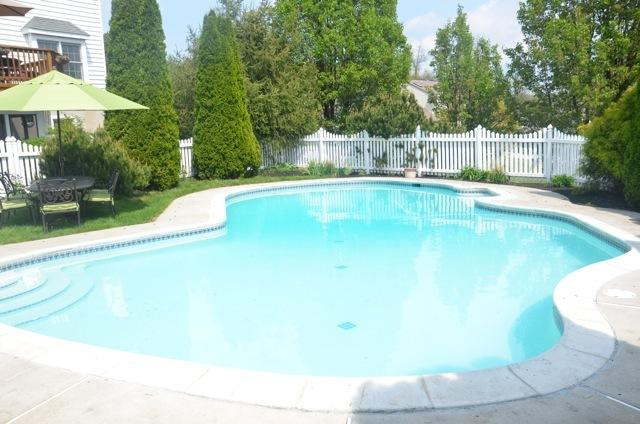 In-ground pool with mature landscaping
