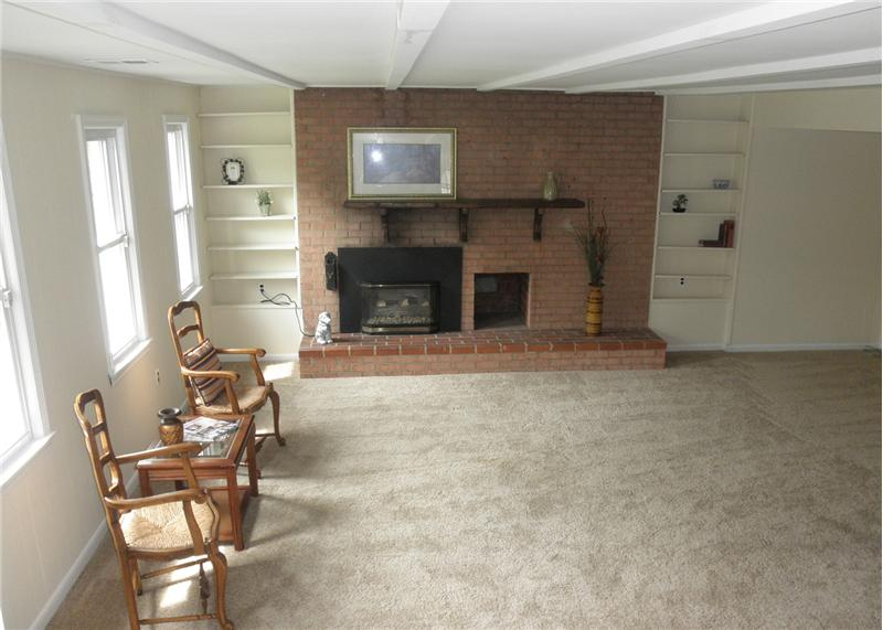 Family room with brick hearth