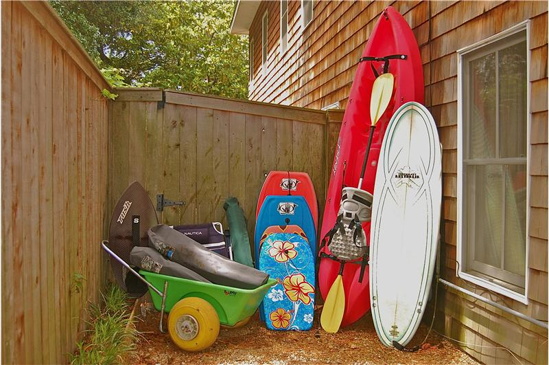 Kayaks, boogie boards, surf board and more