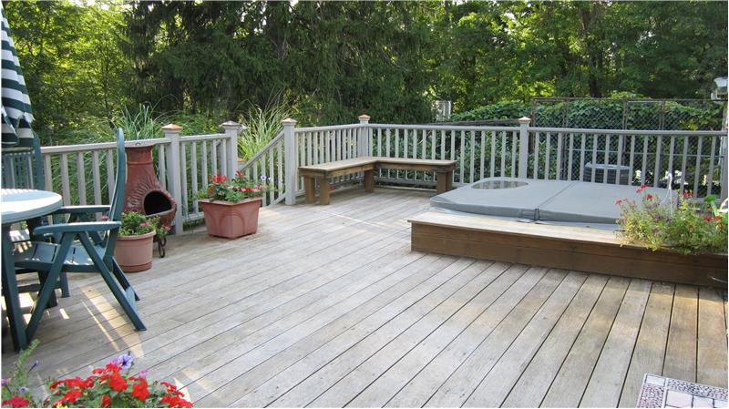 Mahongany/cedar deck with hot tub