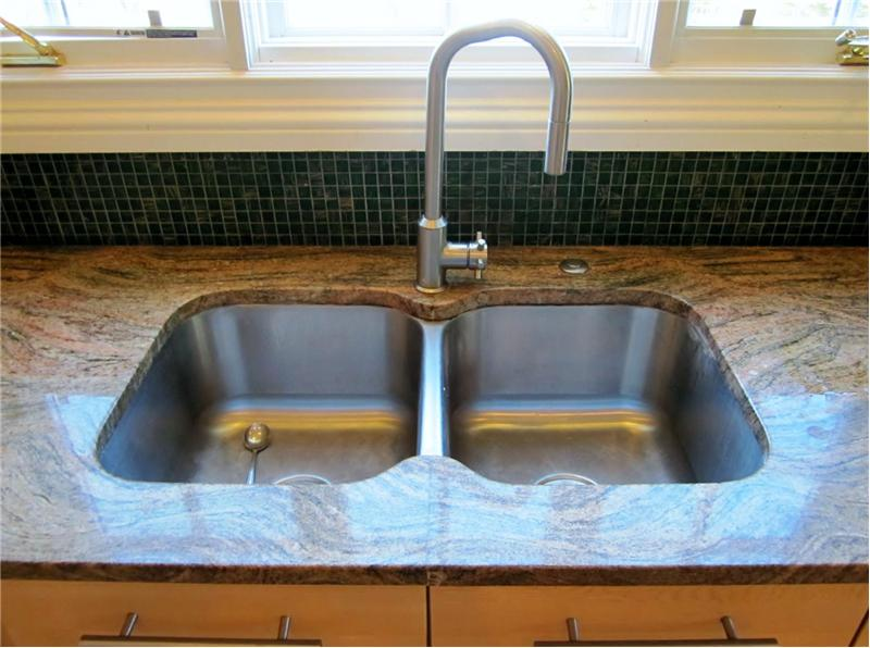 Granite countertops and sink area