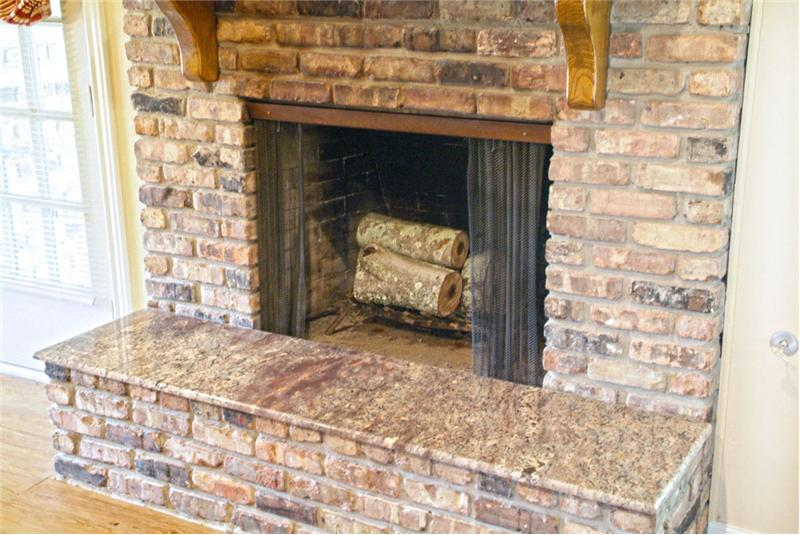 Granite added to fireplace hearth